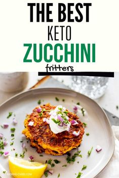 Keto Zucchini Fritters are filling and light at the same time and perfect for a low carb or gluten free diet.They pair well with most lunch or dinner options, but also make a fantastic vegetarian lunch or dinner on their own. You can make them in your Air Fryer, in a skillet or they can be baked. #kickingcarbs #LowCarbRecipes #KetoZucchiniFritters Low Carb Recipes, Real Food Recipes, Zucchini Fritters, Low Carb Vegetables, Vegetarian Lunch, Dinner Options, Healthy Dishes, Vegetable Recipes, Skillet