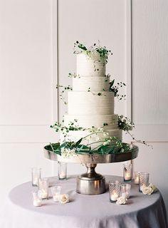 Organic Wedding Cake with Delicate Vines | Jose Villa Photography | http://heyweddinglady.com/spring-watercolor-wedding-inspiration-lavender-sage-green/