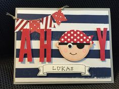 "Handmade ""Ahoy"" pirate birthday card, using Stampin Up products, by Nicole J."