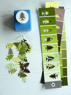 all washi tapes: Great idea for punching paint chips Holiday Crafts, Fun Crafts, Arts And Crafts, Simple Christmas Crafts, Simple Christmas Decorations, Paper Christmas Decorations, Minimal Christmas, Christmas Paper Crafts, Coastal Christmas
