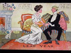 In the early century, it was common knowledge that women could propose marriage to men during leap years. These postcards from that era reveal popular attitudes about women who proposed and men who were proposed to. Monmouth University, University Of Minnesota, Social Science Project, Vintage Ads, Vintage Images, Vintage Prints, Paper Dolls Book, Teaching History, Vintage Greeting Cards