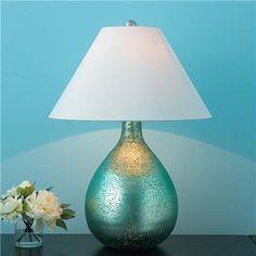 Aqua Metallic Bulb Table lamp