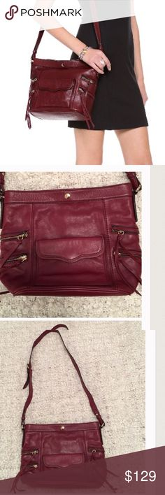 "Rebecca Minkoff Dexter Bucket Bag Measures 12x10"" with a long crossbody strap. Color is a burgundy leather.....lots of zippered compartments. Really excellent used condition Rebecca Minkoff Bags"