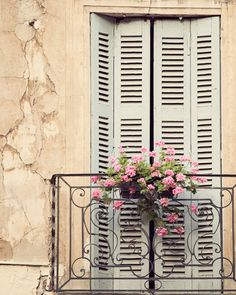 Window Treatment - France Photograph, Provence, Spring, Travel Photography, Shabby Chic, Home Decor, Peach, Pink, Blush, Blue. $30.00, via Etsy.