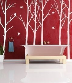 Trees in the bathroom because I can't find the right mermaid that isn't half nekkid, although I suppose mermaids are that, if nothing else--half nekkid, that is.