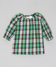 Look at this #zulilyfind! Red & Green Plaid Peasant Top - Infant, Toddler & Girls #zulilyfinds $13.99