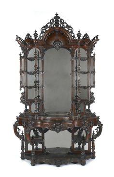 Victorian Rococco Revival Rosewood Etagère    c.1865