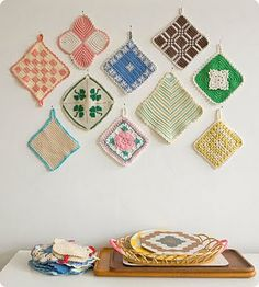 Variety of vintage crocheted pot holders... Grandmas in days-gone-by had several (usually made by themselves).
