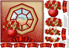 Poppies Octagonal Window Decoupage on Craftsuprint designed by Sandie Burchell - Beautiful 7 inch square Octagonal Window with Decoupage. Sentiment Panels includes: Happy Birthday, Especially For You!, Happy Mother's Day, Mothering Sunday, Get Well Soon, Happy Anniversary or Blank for your own peel-off lettering or stamp.