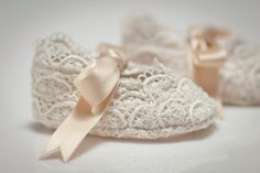 Baby Shoes / Booties - Ivory Scalloped Lace Creme Satin Ribbon Vintage Inspired Organic. $47.00, via Etsy.