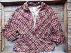 Spiegel Jacket Size Medium Plaid Blazer Suit Coat Batwing Wool Blend #Spiegel #BasicCoat