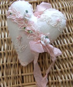 Shabby Chic Suffed Fabric Lace Pocket Heart Another beautiful item . Shabby Chic Hearts, Romantic Shabby Chic, Valentine Heart, Valentine Crafts, Shabby Chic Pillows, Fabric Hearts, Heart Pillow, Heart Crafts, Heart Ornament
