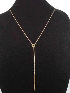 Michael Kors Gold Stainless Logo Bar Threader Lariat Necklace MKJ4681 710 $125 #MichaelKors #Lariat