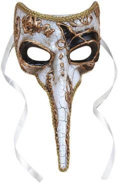 Amazon.com: Long-Nosed Black & White Venetian Adult Mask Standard: Clothing