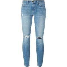 Current/Elliott distressed skinny jeans ($109) ❤ liked on Polyvore featuring jeans, pants, trousers, blue, distressing jeans, torn skinny jeans, ripped jeans, destructed jeans and torn jeans
