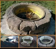 Backyard Landscaping Style Concepts-Fresh Modern Day And Rustic Fire Pit Layout Concepts Rim Fire Pit, Wheel Fire Pit, Fire Pit Layout, Fire Pit Plans, Rustic Fire Pits, Fire Pit Furniture, Furniture Ideas, Furniture Design, Outdoor Furniture