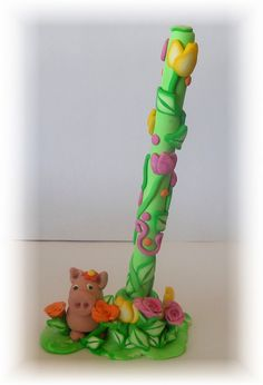 Little Piggy Polymer Clay Pen set by Kellee's Beaded and Clay Creations, via Flickr