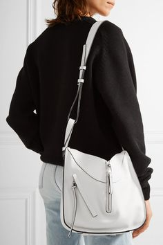 White textured-leather (Calf) Hook fastening at open top Comes with dust bag Weighs approximately Made in Spain Loewe Hammock Bag, Chicago Store, Loewe Bag, Dress Sale, White Texture, Jennifer Fisher, White Women, Leather Shoulder Bag, Handbags