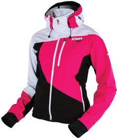 FXR Racing - 2015 Snowmobile Apparel - Women's Mission Softshell Hoodie - Black/Fuchsia