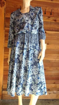NWT PERCEPTIONS SIZE 8 BLUE FLORAL DRESS ~ STYLE 500164 ~ WASHABLE #Perceptions #WeartoWork