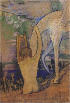 """Orpheus and Pegasus"" by Greek painter Konstantinos Maleas Greek Art, Ancient Greece, Painters, Hero, Symbols, Artists, Etchings, Artist, Glyphs"