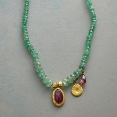 """VERDANCY NECKLACE--Nava Zahavi bedecks her necklace of graduated emerald rondelles with tourmalines and a charm of 18kt gold. 24kt gold plated hook clasp. A handmade Sundance exclusive. 17""""L."""
