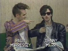 Paul Morressey, oops, Morrissey and Johnny Marr being interviewed by kids on the children's TV-programme DataRun The Smiths. Andy Rourke, The Smiths Morrissey, Johnny Marr, Harry Styles, British People, Strikes Again, Dazed And Confused, Charming Man, Britpop