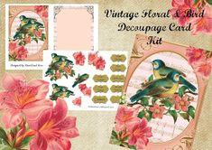 Kiwi Card House : Vintage Floral & Bird Decoupage Card Mini Kits