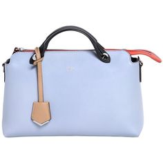 FENDI Small By The Way Color Block Leather Bag (23.278.105 IDR) ❤ liked on Polyvore featuring bags, handbags, shoulder bags, light blue, fendi shoulder bag, blue leather purse, genuine leather handbags, genuine leather purse and fendi purses