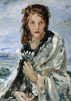 Lány virággal / Girl with flowers, Náray Aurél. Hungarian (1883 - 1948) Romantic Paintings, Egypt Art, Girls With Flowers, Ivy House, Edgar Degas, Lany, People Art, Painting Inspiration, Impressionism