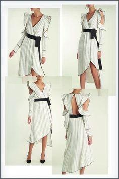 AL17 Women Runway V-Neck Short Sleeve Lace Patchwork Stylish Dress