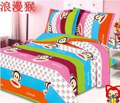 Big mouth monkey cartoon bed sheets cotton double 100% 40s-80s encryption slanting stripe cotton pillow duvet cover multiple set $40.74 Paul Frank, Bed Duvet Covers, Cotton Pillow, Monkeys, Bed Sheets, Comforters, Blanket, Pillows, Big