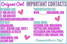 Origami Owl Important Contacts at the Nest!  http://loveablelockets.com