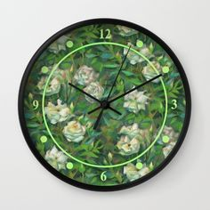 """White roses, green leaves pastel painting, floral art Wall Clock ($30) ❤ liked on Polyvore featuring home, home decor, wall art, bloom, botanic, flowers, natural, pastel, leaf painting and green painting"