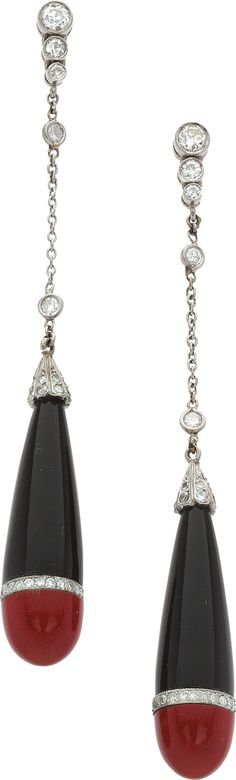 Estate Jewelry:Earrings, Diamond, Black Onyx, Red Stone, Platinum, White Gold Earrings. ... Image #1