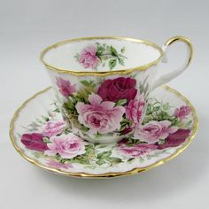 Regency Vintage Tea Cup and Saucer with Pink Roses Bone China