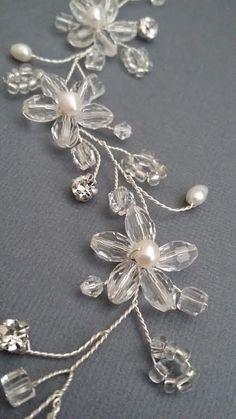 Wedding Lace Headpiece Pearl Beaded Lace Vine by PowderBlueBijoux