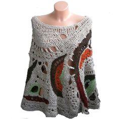 Alavian - Freeform Crochet Poncho, Beige, Orange,Brown,Green