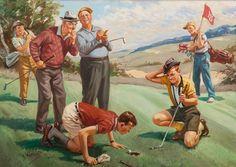 Um pouco curto. Óleo sobre tela. John Henry Hintermeister (Winterthur, Suíça, 1869 - 1945, USA). Encontra-se em uma coleção privada na Pensilvânia, USA.