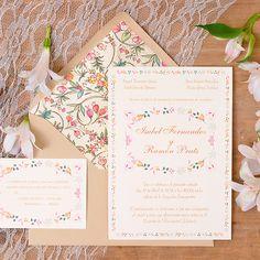 Invitaciones de boda con motivos florales: Verona. www.azulsahara.com #invitaciones #wedding #stationery