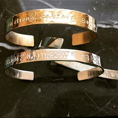 Hidden/Visible Personalized Bracelet Cuff, Hand Stamped Custom Made, Mother's Day, Bridesmaid Gift, Gift for Her, Sister, GPS, Love Positive