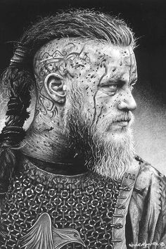 Ragnar Canvas Art by Inked Ikons Ragnar Lothbrok Vikings, Viking Beard, Viking Hair, Viking Warrior, Viking Life, Rey Ragnar, Viking Makeup, Viking Drawings, Viking Wallpaper