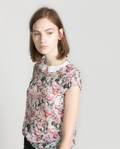 FLORAL TOP WITH CONTRASTING COLLAR - Shirts - TRF | ZARA Bulgaria