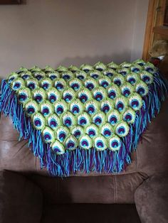 """From: Hope Lakus """"Peacock blanket I made for a friend. I used the pattern for… Crochet Quilt, Afghan Crochet Patterns, Knit Or Crochet, Crochet Motif, Crochet Designs, Free Crochet, Knitting Patterns, Crochet Afghans, Blanket Crochet"""