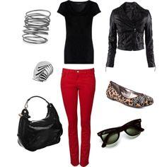 Fall Look. Red Skinny Jeans. Classic & Fun.