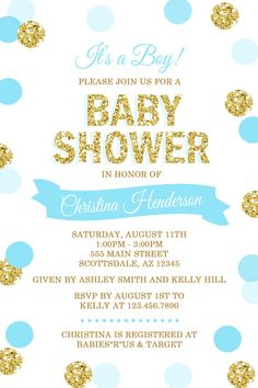 Blue and Gold Baby Shower Invitation Gold Glitter by Honeyprint