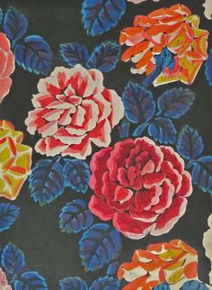'Roses', ca. 1920's. Gouache over pencil on paper   Fabric design by Raoul Dufy (French, 1877-1953)   In 1912 Dufy signed a contract with the French silk firm Bianchini-Ferier, shortly after his first forays into fabric design with clothier Paul Poiret. After becoming art director at Bianchini-Ferier, Dufy began to fully express and realize his talent for design. In his time with the firm, Dufy's 'eye' for color, fluid line, and ornamental decoration blossomed in his textiles