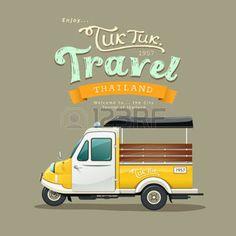 Illustration about Vintage yellow motor-tricycle (Tuk Tuk) Ayutthaya, Thailand design background. Illustration of speed, poster, background - 50344836 Thailand Art, Thailand Travel, Ayutthaya Thailand, Wall Painting Decor, Around The World In 80 Days, New Motorcycles, Travel Design, Vintage Yellow, Yellow