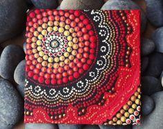 """Dot kunst, Brand Design, Biripi kunstenaar Raechel Saunders, 4 """"x 4"""" canvas board, Australische Aboriginal Acryl schilderij, Biripi Art"""