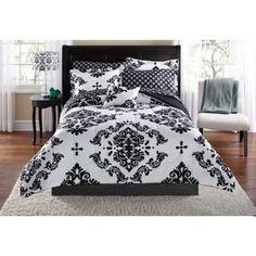 Mainstays Classic Noir Bed In A Bag Bedding Set - Walmart.com grey version for guest bedroom